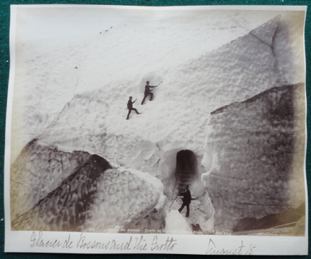 Glacier de Bossons & Grotto Mont Blanc Alps Antique Albumen Photo circa 1890